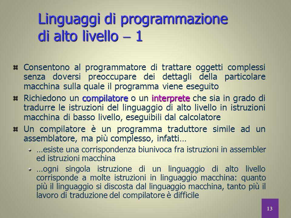 Linguaggi di programmazione di alto livello  1