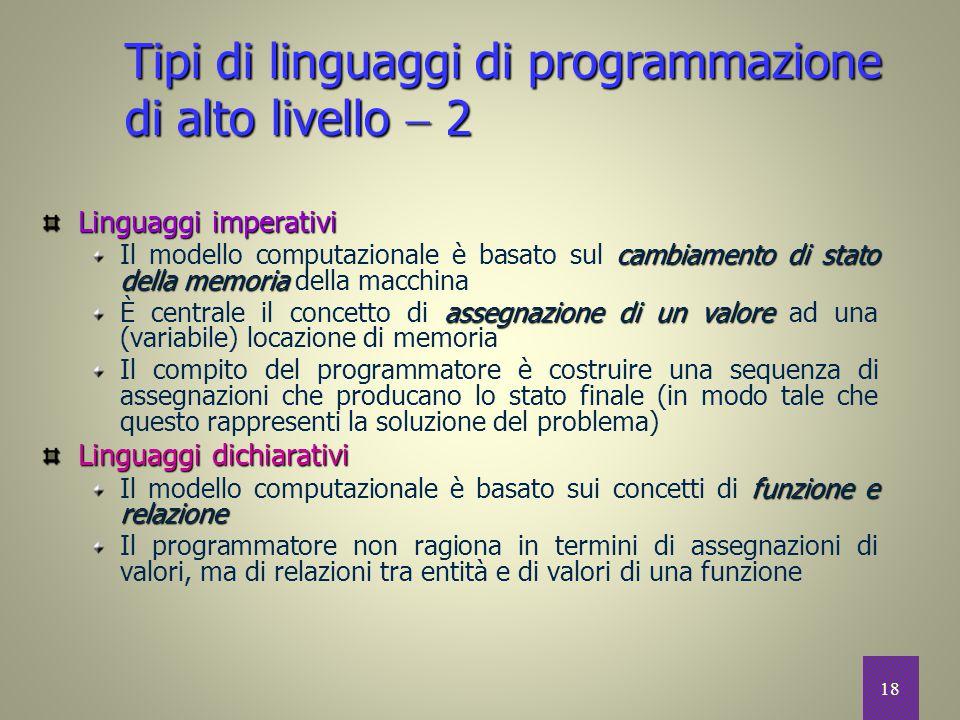 Tipi di linguaggi di programmazione di alto livello  2