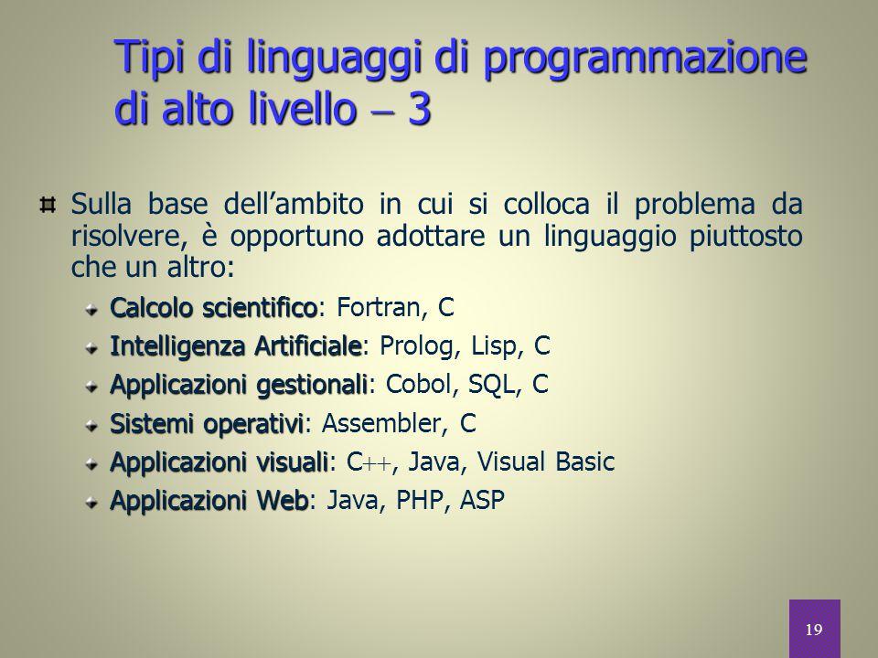 Tipi di linguaggi di programmazione di alto livello  3