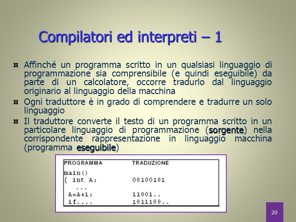 Compilatori ed interpreti – 1