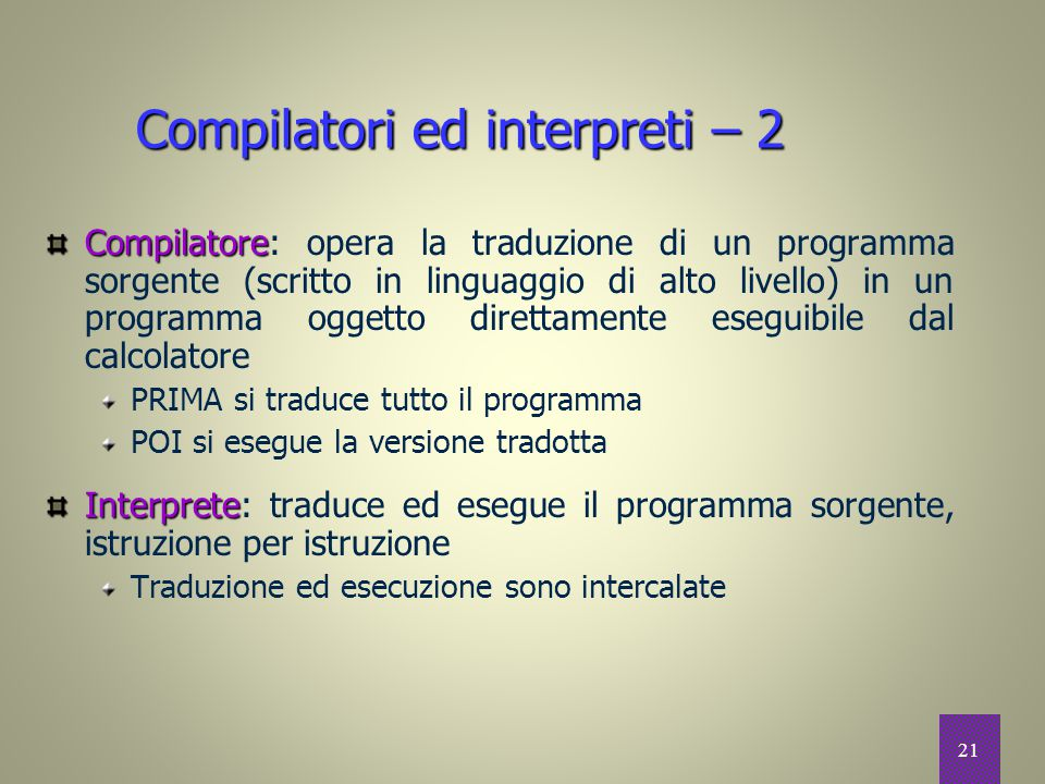 Compilatori ed interpreti – 2