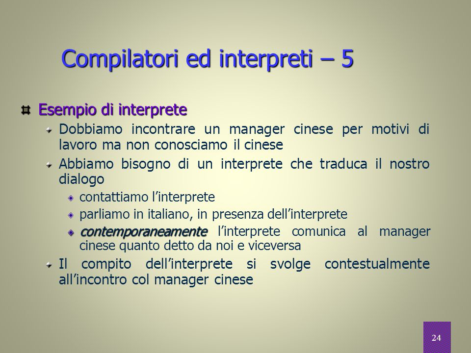 Compilatori ed interpreti – 5