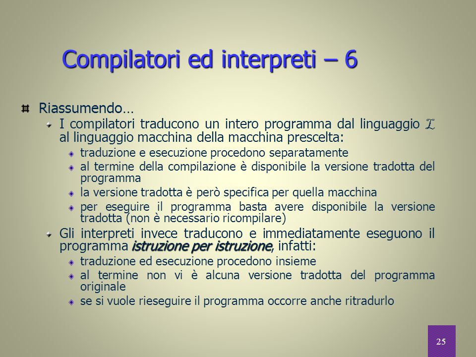 Compilatori ed interpreti – 6