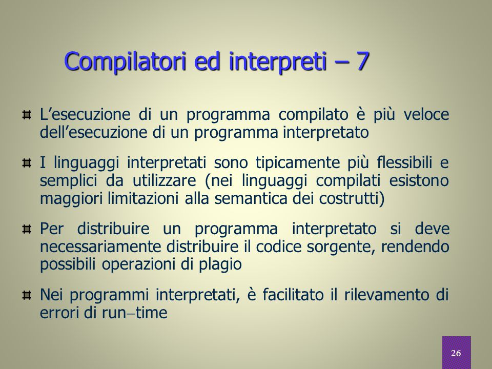 Compilatori ed interpreti – 7