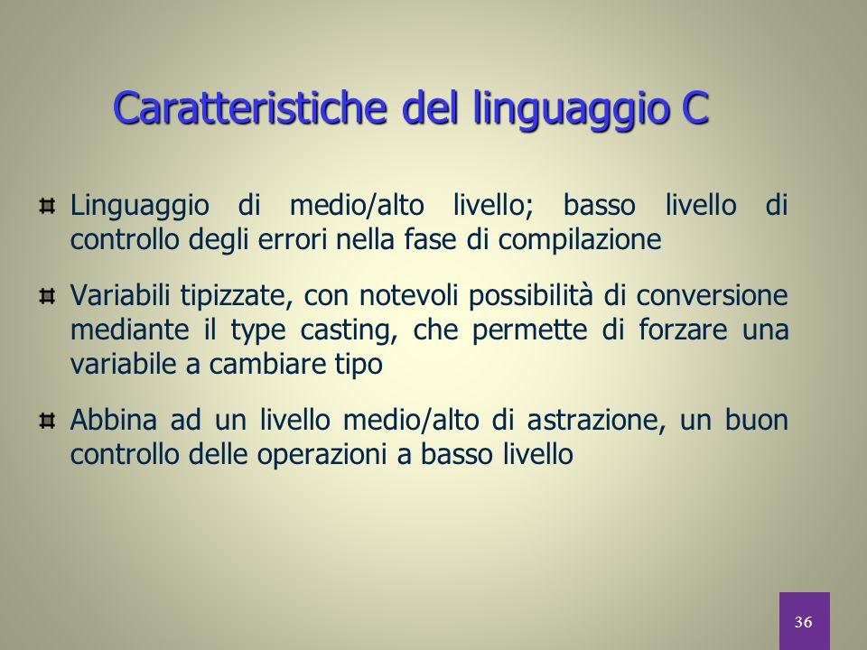 Caratteristiche del linguaggio C