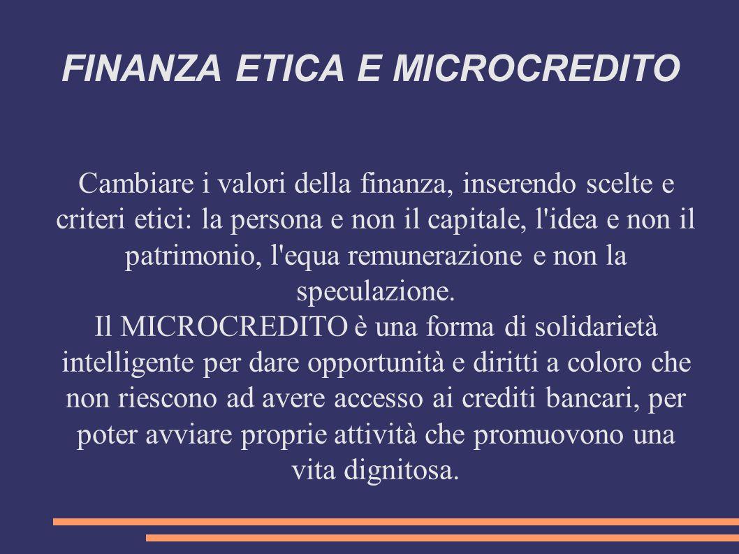 FINANZA ETICA E MICROCREDITO