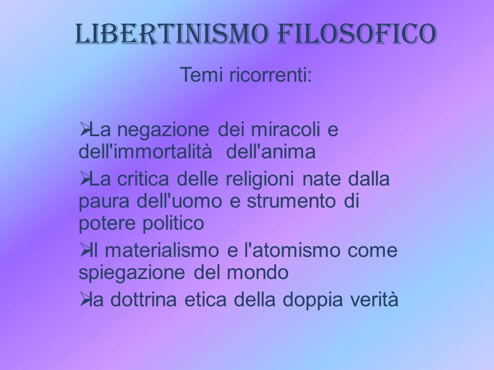 LIBERTINISMO FILOSOFICO