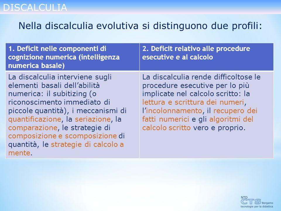 Nella discalculia evolutiva si distinguono due profili: