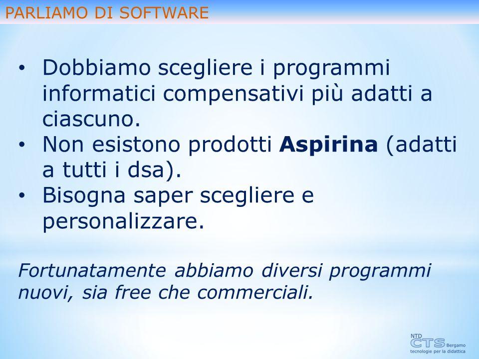 Non esistono prodotti Aspirina (adatti a tutti i dsa).
