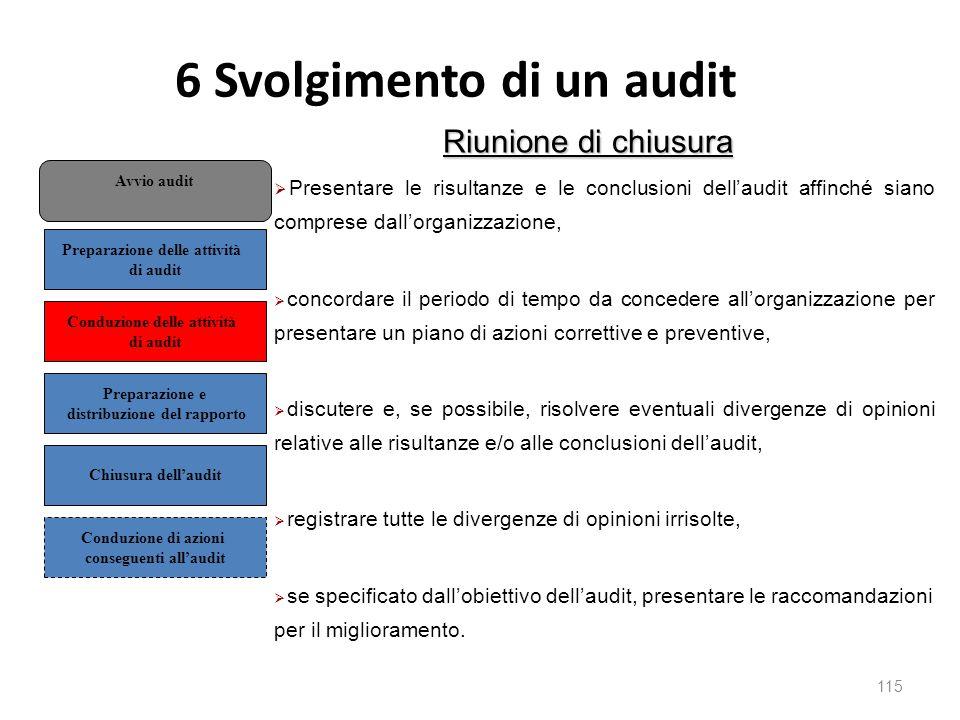 6 Svolgimento di un audit