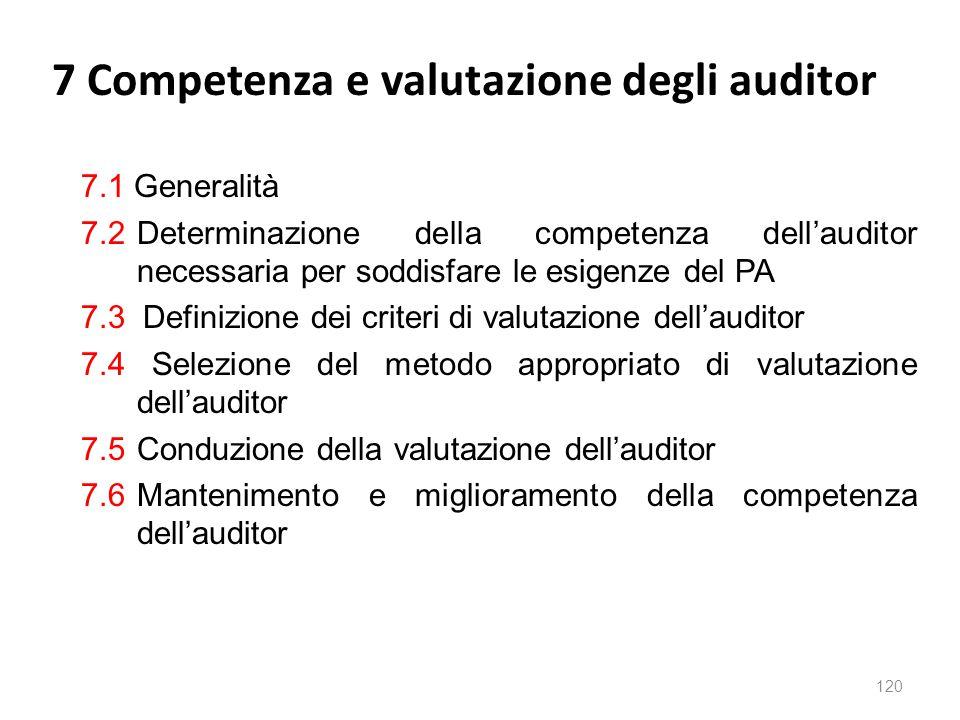 7 Competenza e valutazione degli auditor