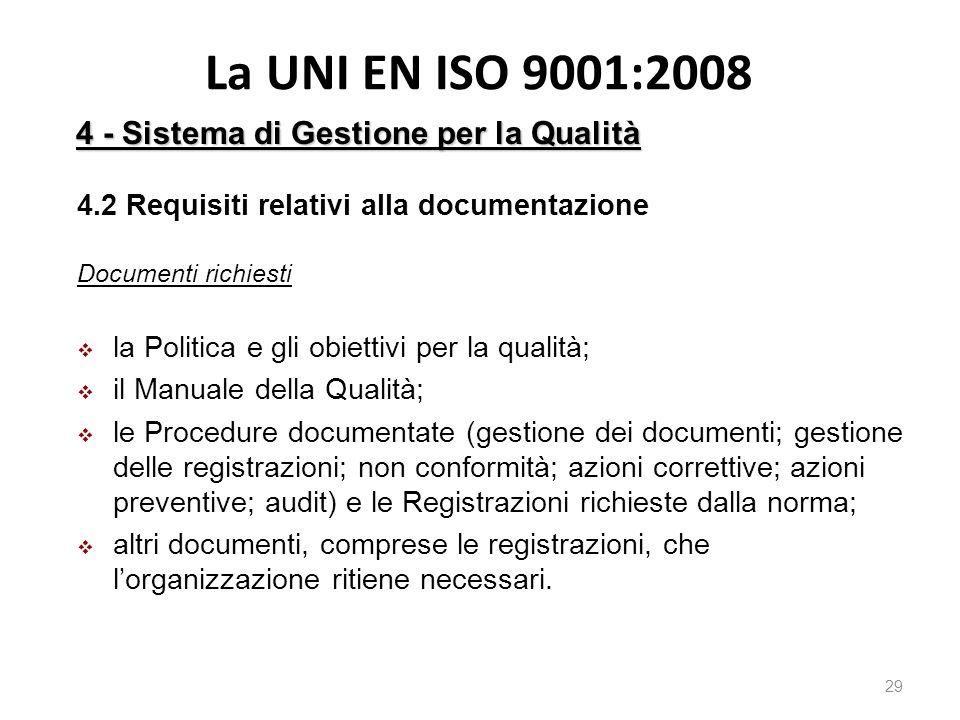 La UNI EN ISO 9001:2008 4 - Sistema di Gestione per la Qualità