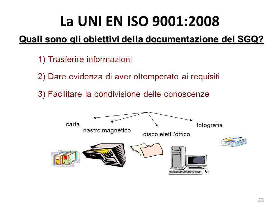 La UNI EN ISO 9001:2008 Quali sono gli obiettivi della documentazione del SGQ 1) Trasferire informazioni.
