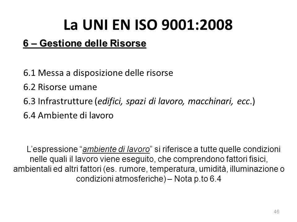 La UNI EN ISO 9001:2008 6 – Gestione delle Risorse