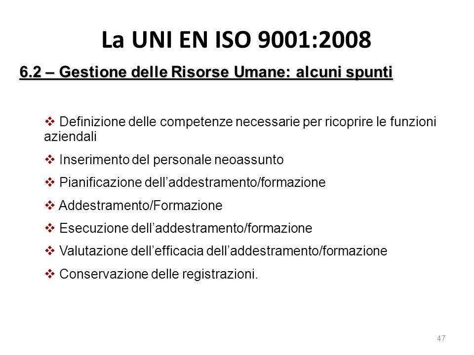 La UNI EN ISO 9001:2008 6.2 – Gestione delle Risorse Umane: alcuni spunti.