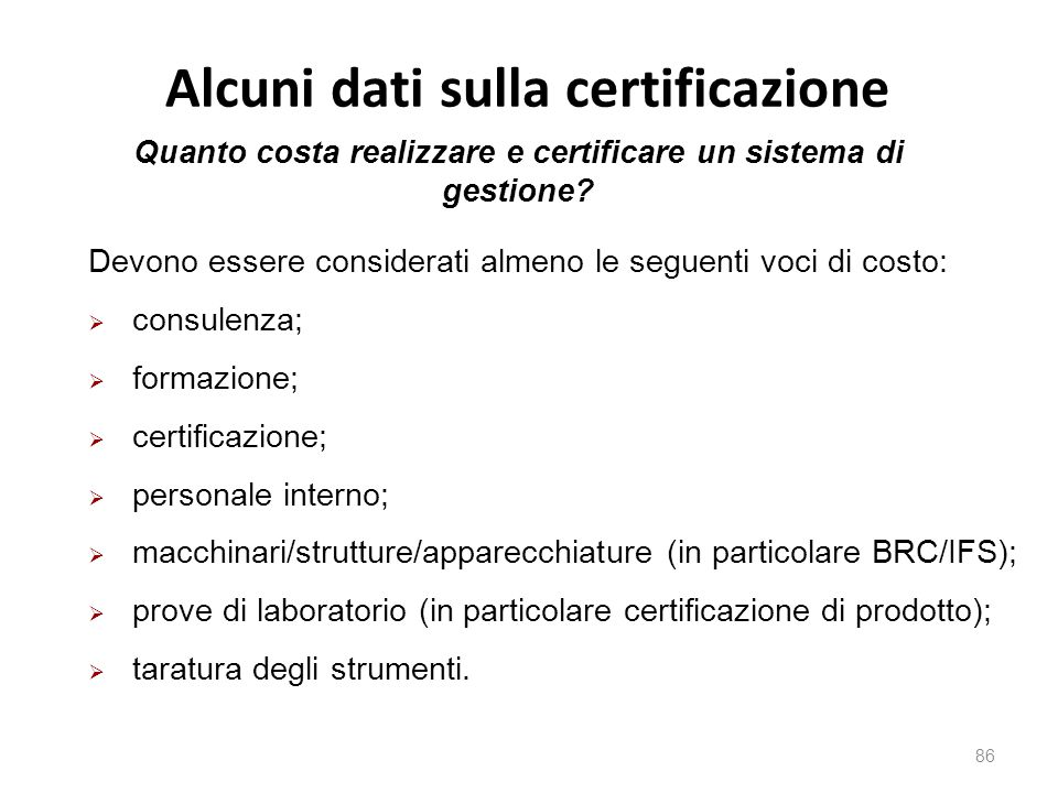 Alcuni dati sulla certificazione