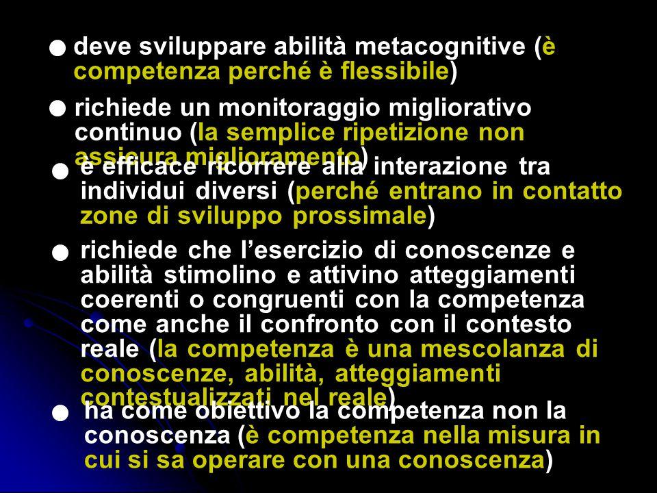 deve sviluppare abilità metacognitive (è competenza perché è flessibile)
