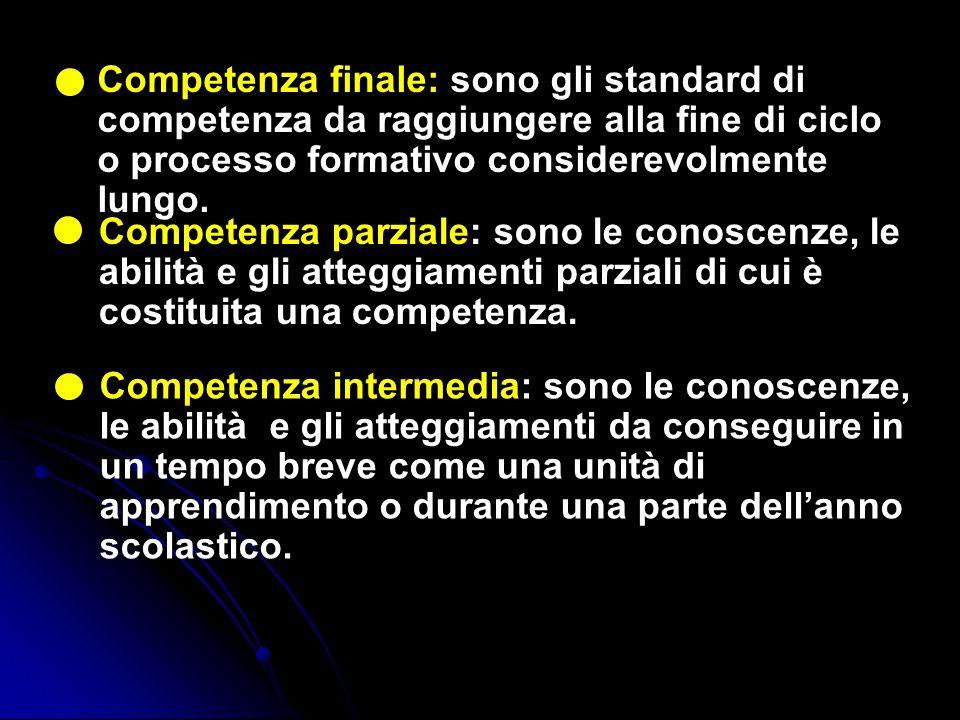 Competenza finale: sono gli standard di competenza da raggiungere alla fine di ciclo o processo formativo considerevolmente lungo.