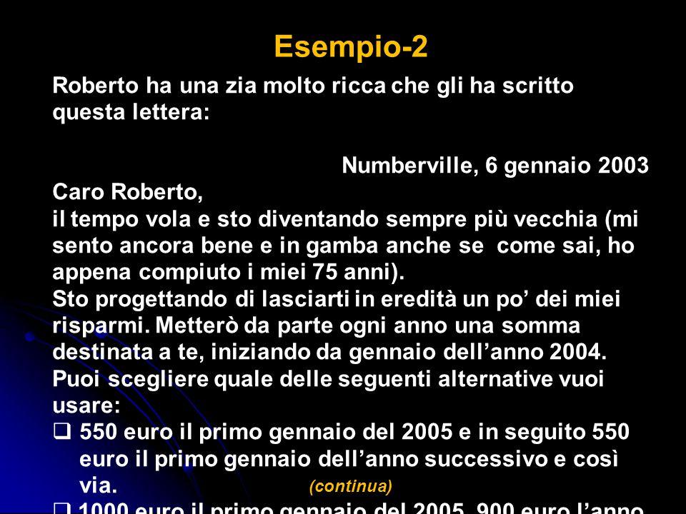 Esempio-2 Roberto ha una zia molto ricca che gli ha scritto questa lettera: Numberville, 6 gennaio 2003.