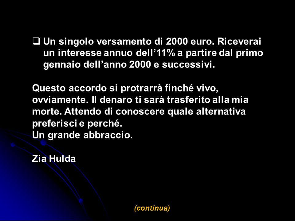 Un singolo versamento di 2000 euro