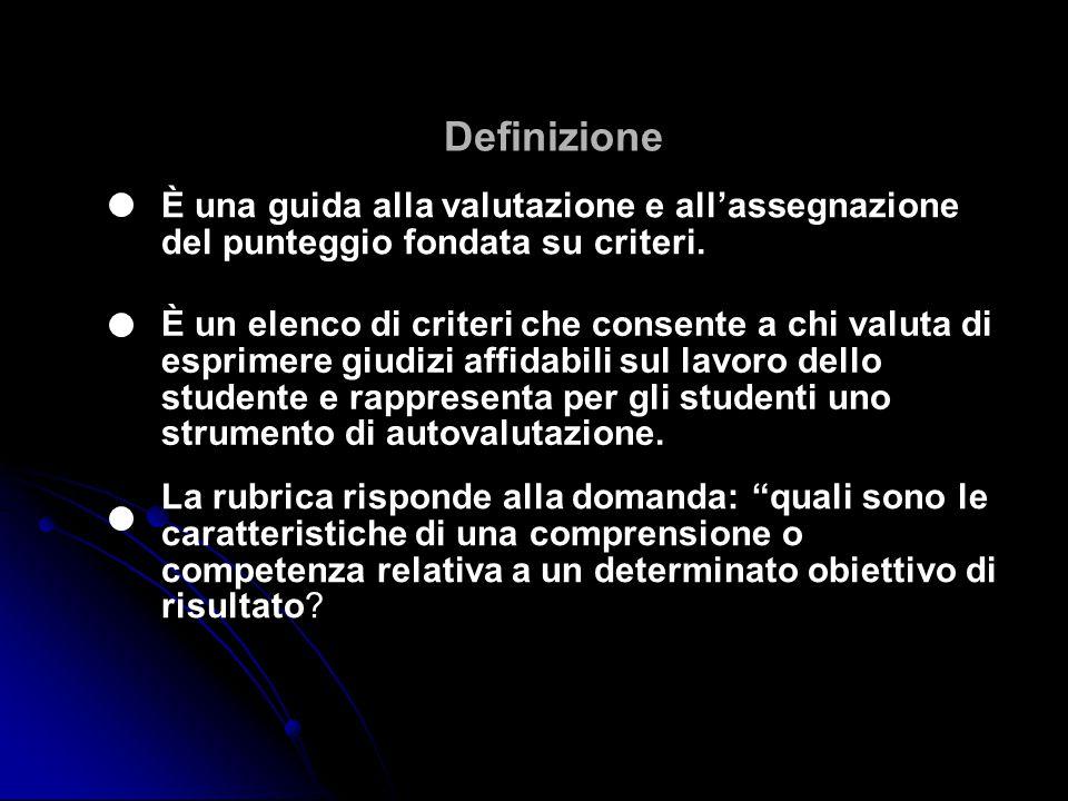 Definizione È una guida alla valutazione e all'assegnazione del punteggio fondata su criteri.