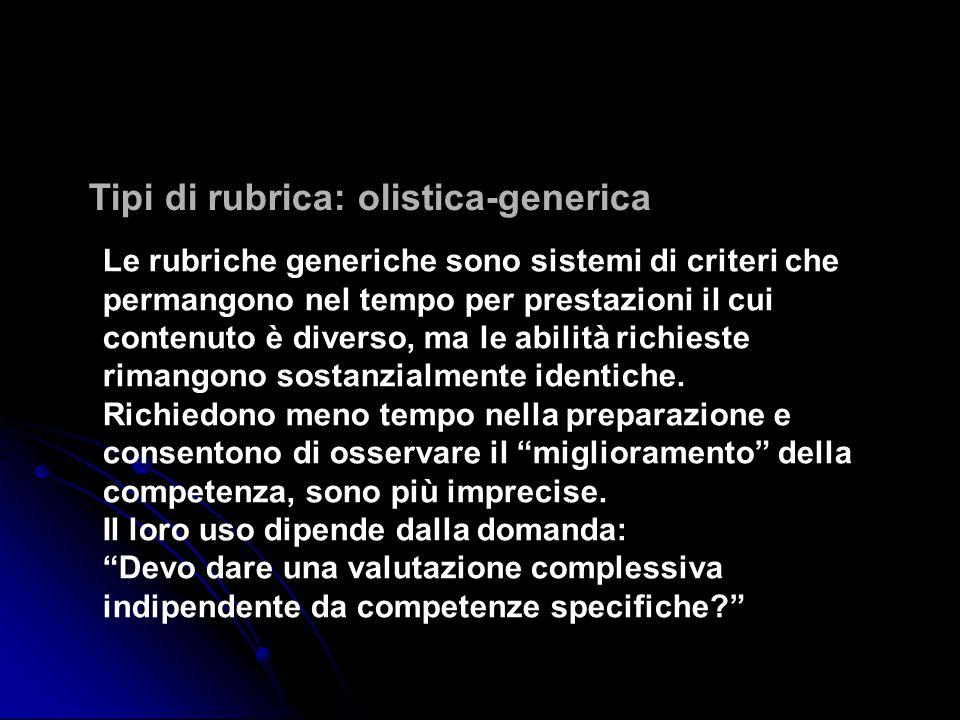 Tipi di rubrica: olistica-generica