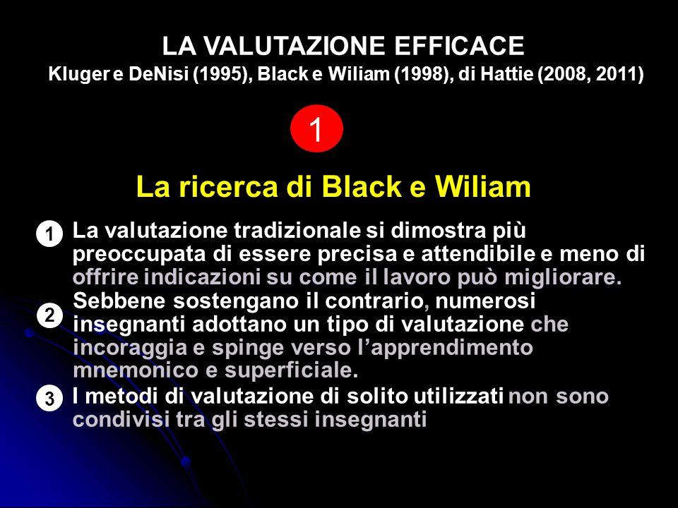 1 La ricerca di Black e Wiliam LA VALUTAZIONE EFFICACE