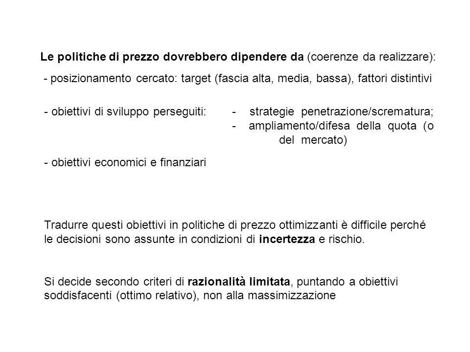 Le politiche di prezzo dovrebbero dipendere da (coerenze da realizzare):