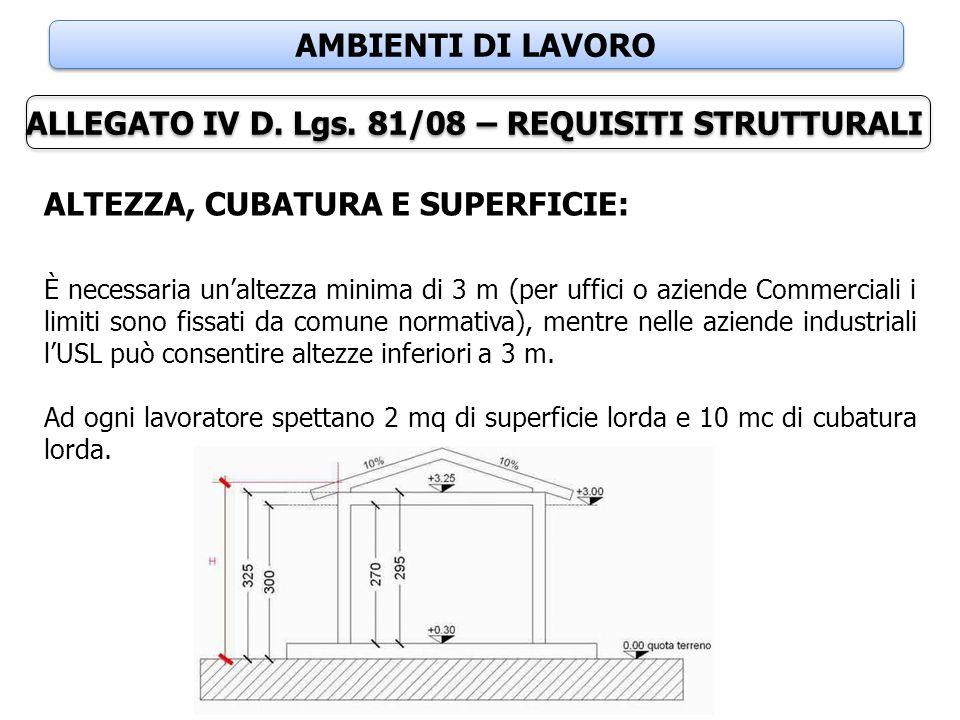 ALLEGATO IV D. Lgs. 81/08 – REQUISITI STRUTTURALI
