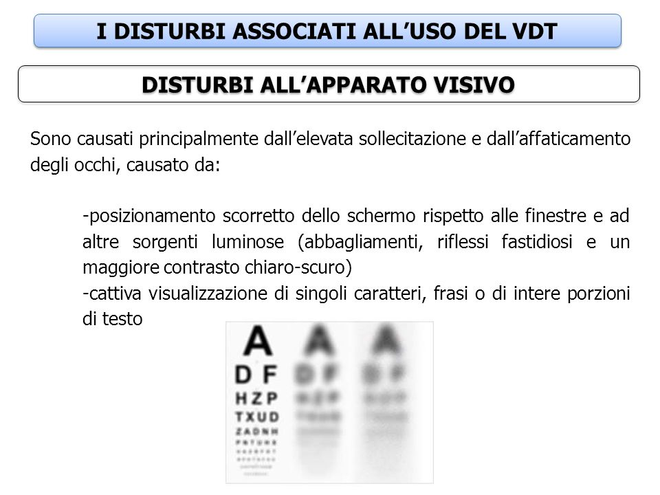 I DISTURBI ASSOCIATI ALL'USO DEL VDT DISTURBI ALL'APPARATO VISIVO