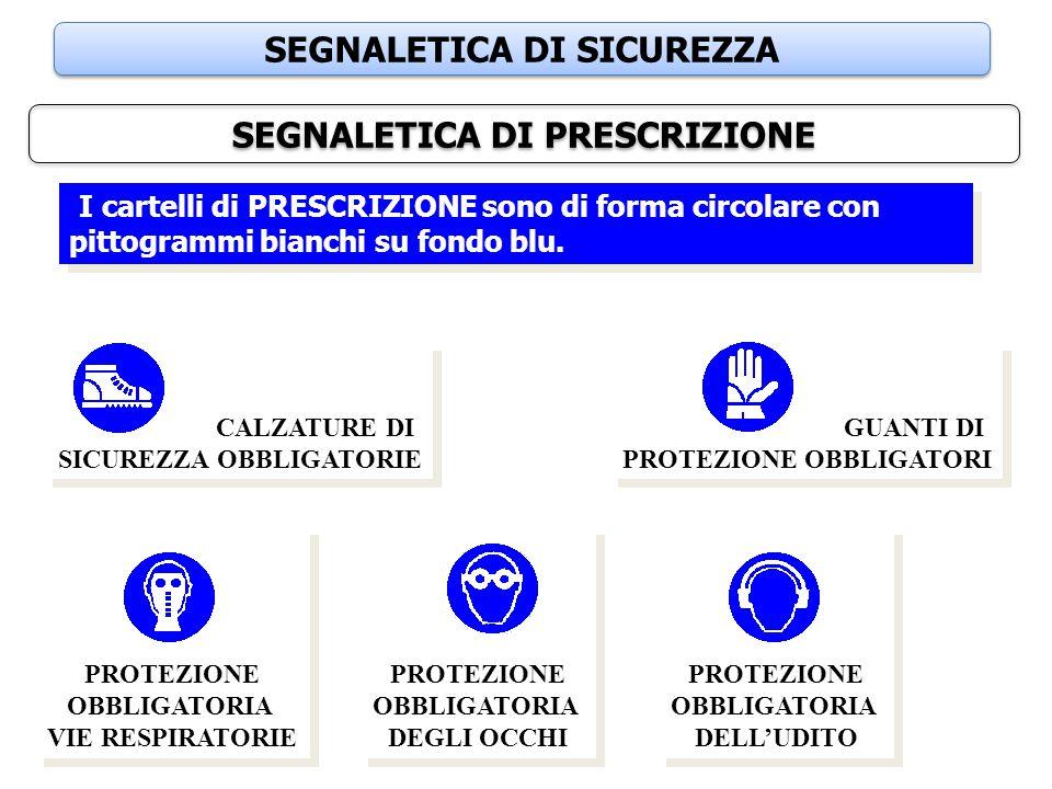 SEGNALETICA DI SICUREZZA SEGNALETICA DI PRESCRIZIONE