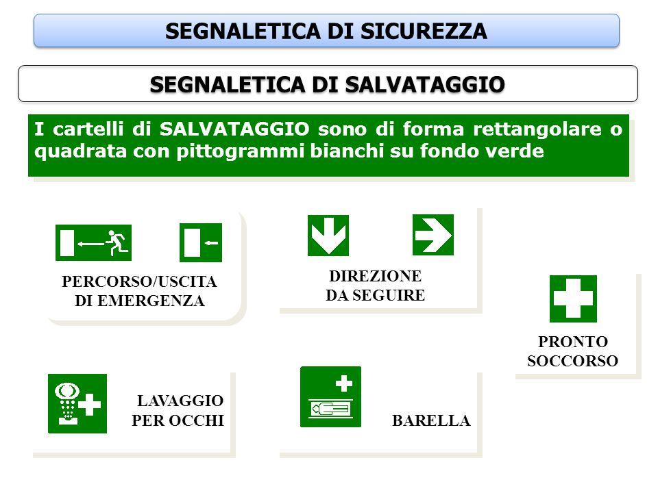 SEGNALETICA DI SICUREZZA SEGNALETICA DI SALVATAGGIO