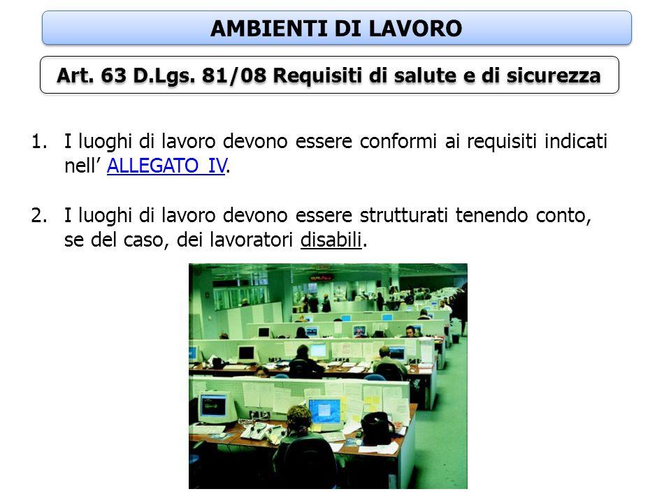 Art. 63 D.Lgs. 81/08 Requisiti di salute e di sicurezza