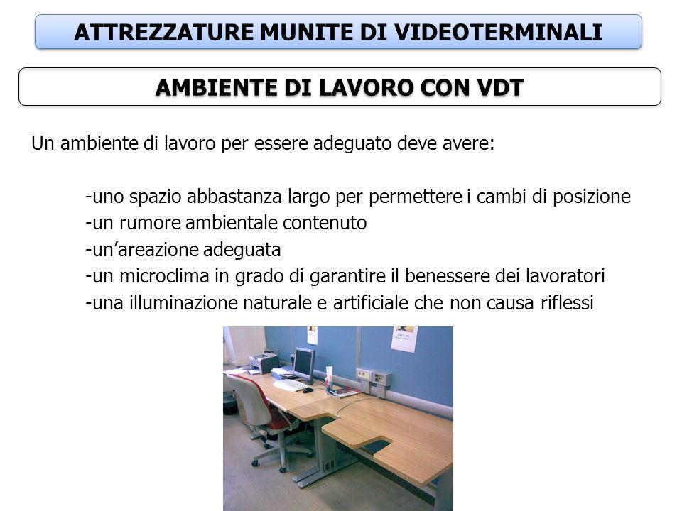 ATTREZZATURE MUNITE DI VIDEOTERMINALI AMBIENTE DI LAVORO CON VDT