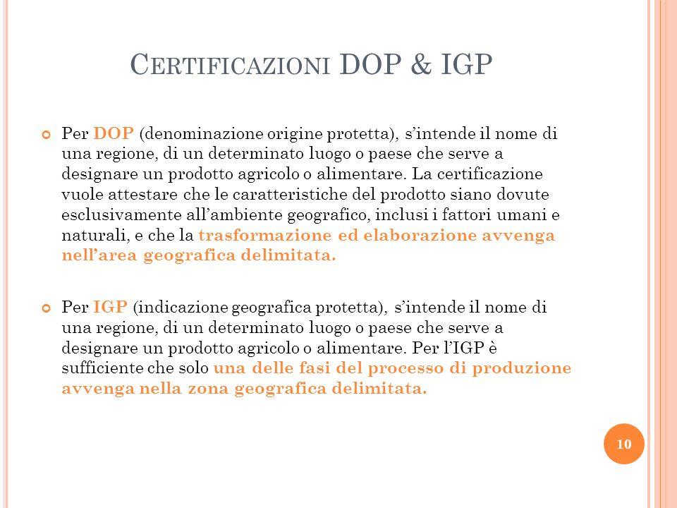 Certificazioni DOP & IGP