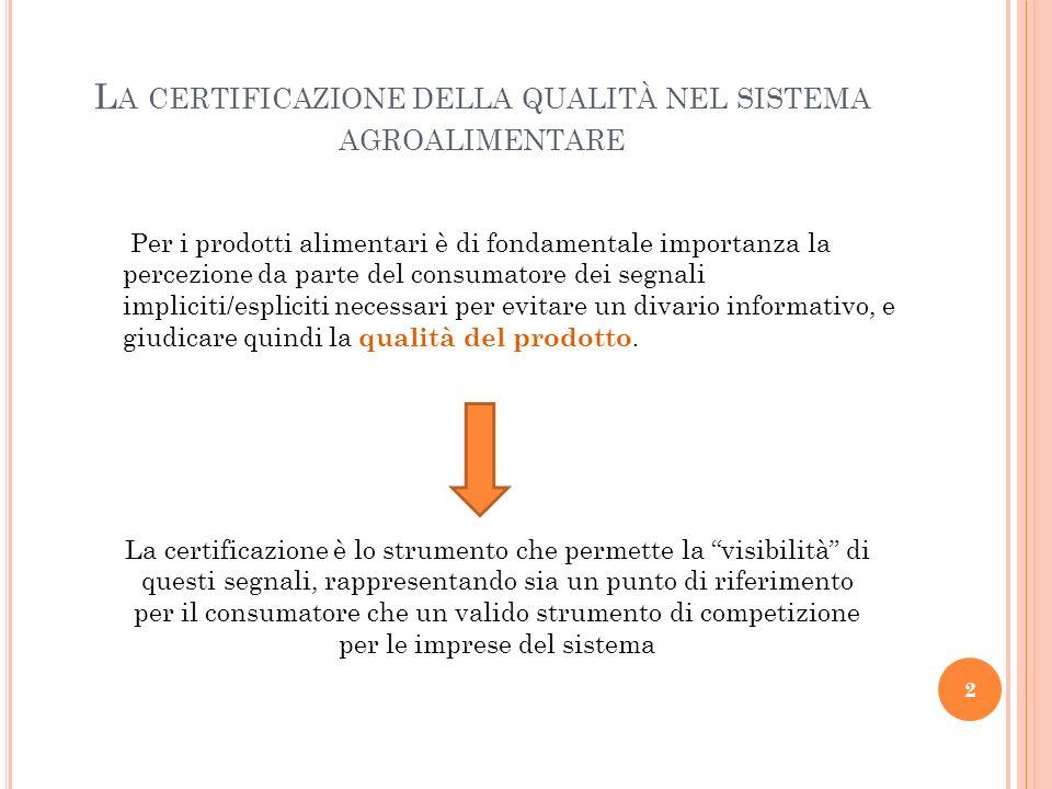 La certificazione della qualità nel sistema agroalimentare