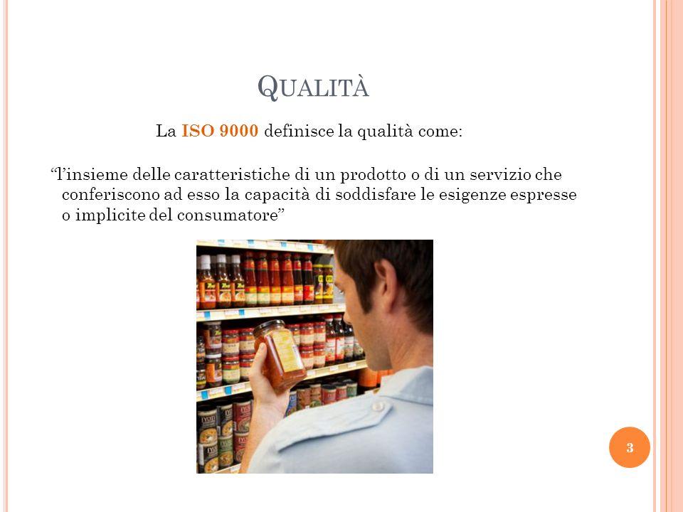La ISO 9000 definisce la qualità come: