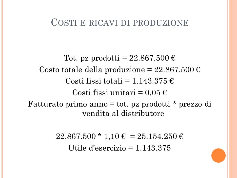 Costi e ricavi di produzione