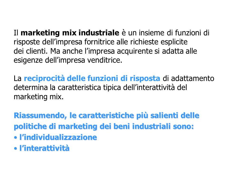 Il marketing mix industriale è un insieme di funzioni di