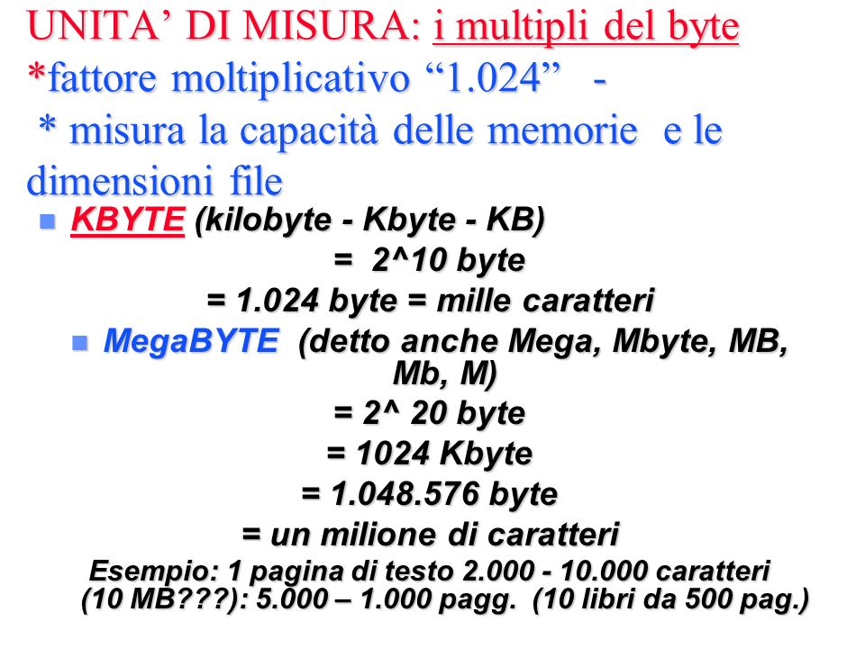 UNITA' DI MISURA: i multipli del byte. fattore moltiplicativo 1