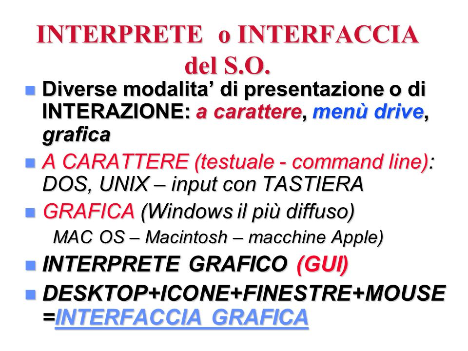 INTERPRETE o INTERFACCIA del S.O.