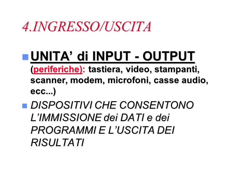 4.INGRESSO/USCITA UNITA' di INPUT - OUTPUT (periferiche): tastiera, video, stampanti, scanner, modem, microfoni, casse audio, ecc...)