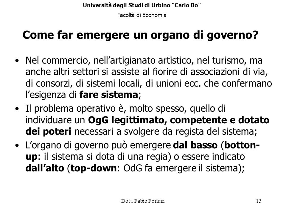 Come far emergere un organo di governo