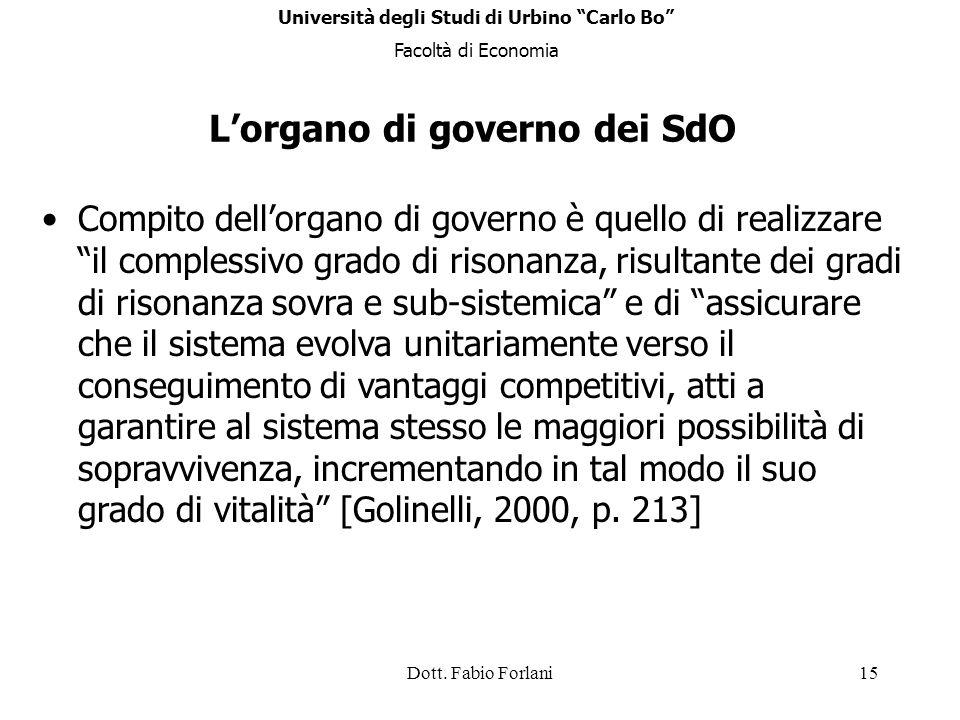 L'organo di governo dei SdO