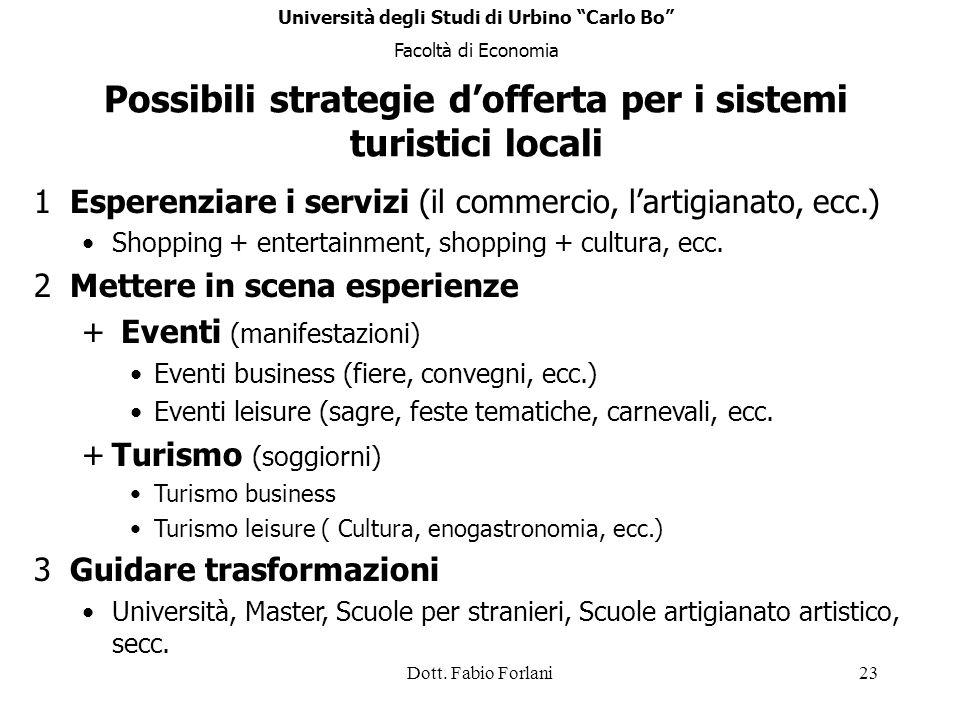 Possibili strategie d'offerta per i sistemi turistici locali