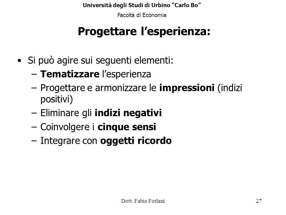 Università degli Studi di Urbino Carlo Bo Progettare l'esperienza: