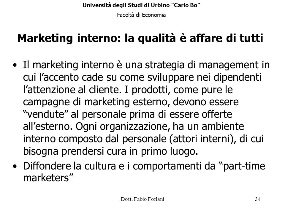 Marketing interno: la qualità è affare di tutti