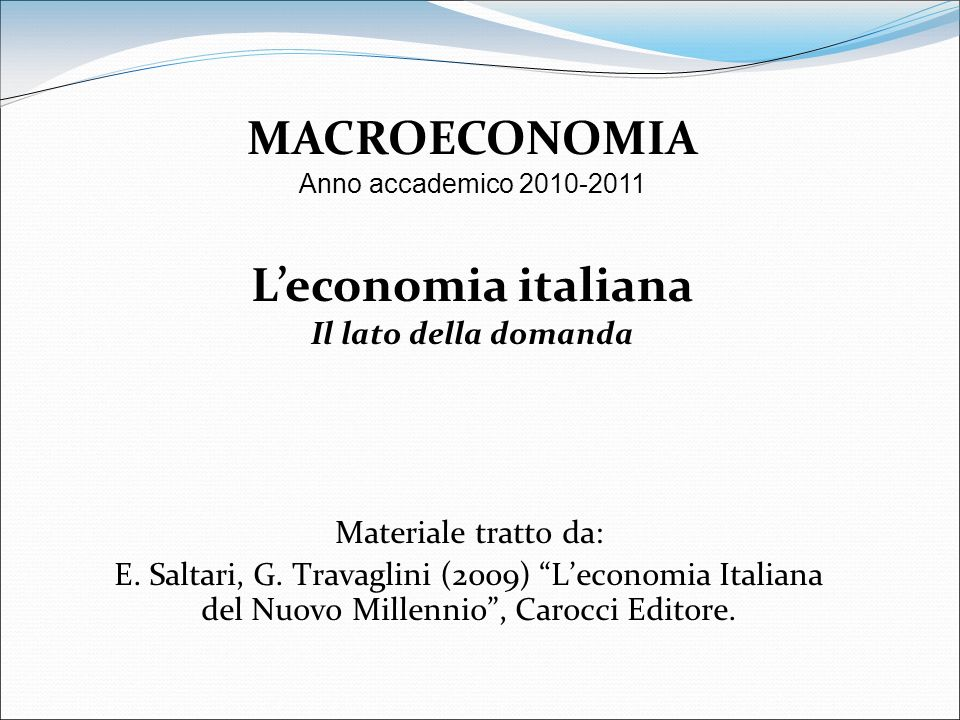 MACROECONOMIA L'economia italiana