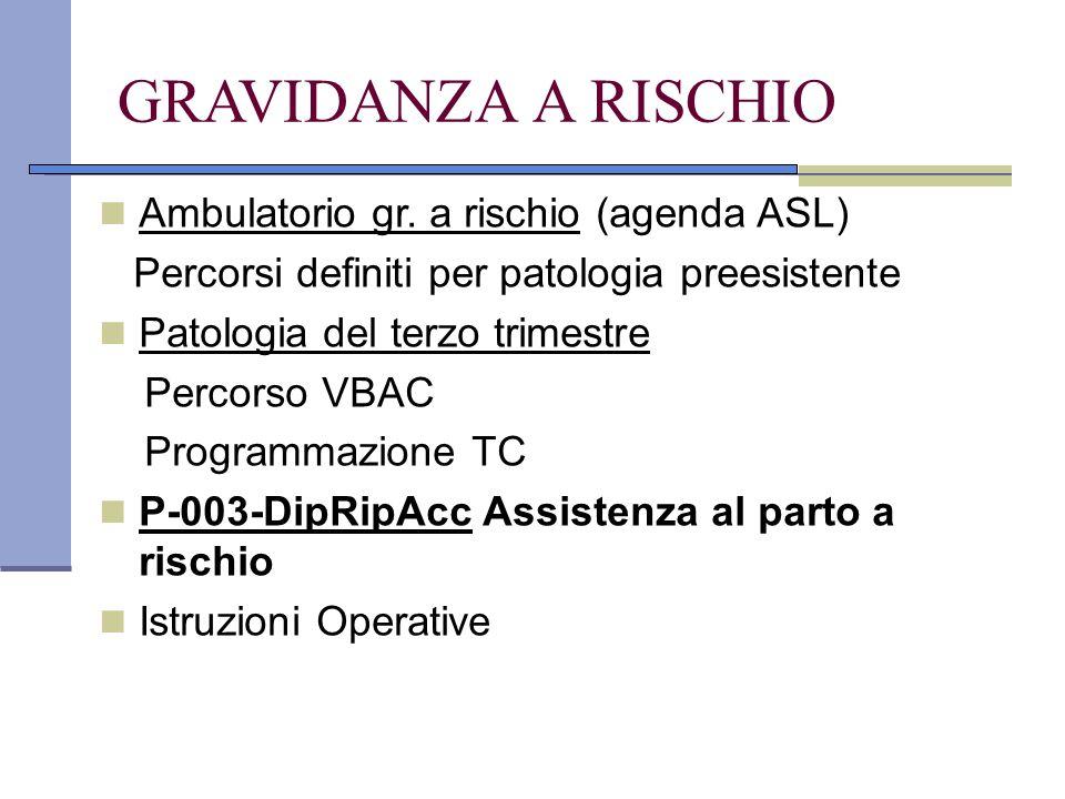 GRAVIDANZA A RISCHIO Ambulatorio gr. a rischio (agenda ASL)