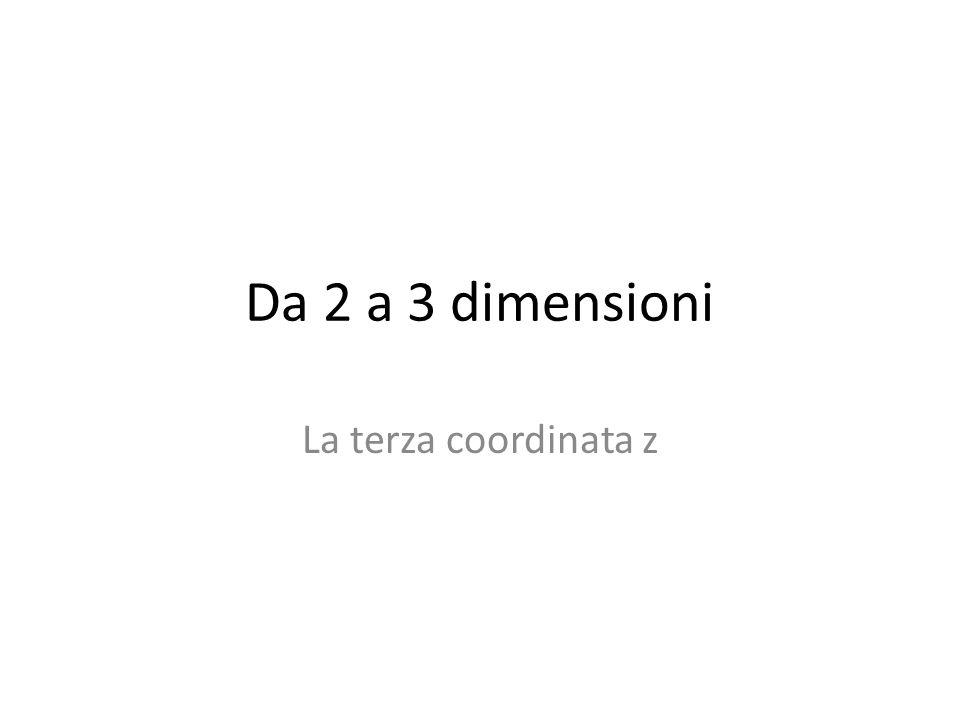 Da 2 a 3 dimensioni La terza coordinata z